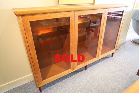 "Mid Century Glass Door Hutch w/ Lights (71.75""W x 14""D x 45""H)"