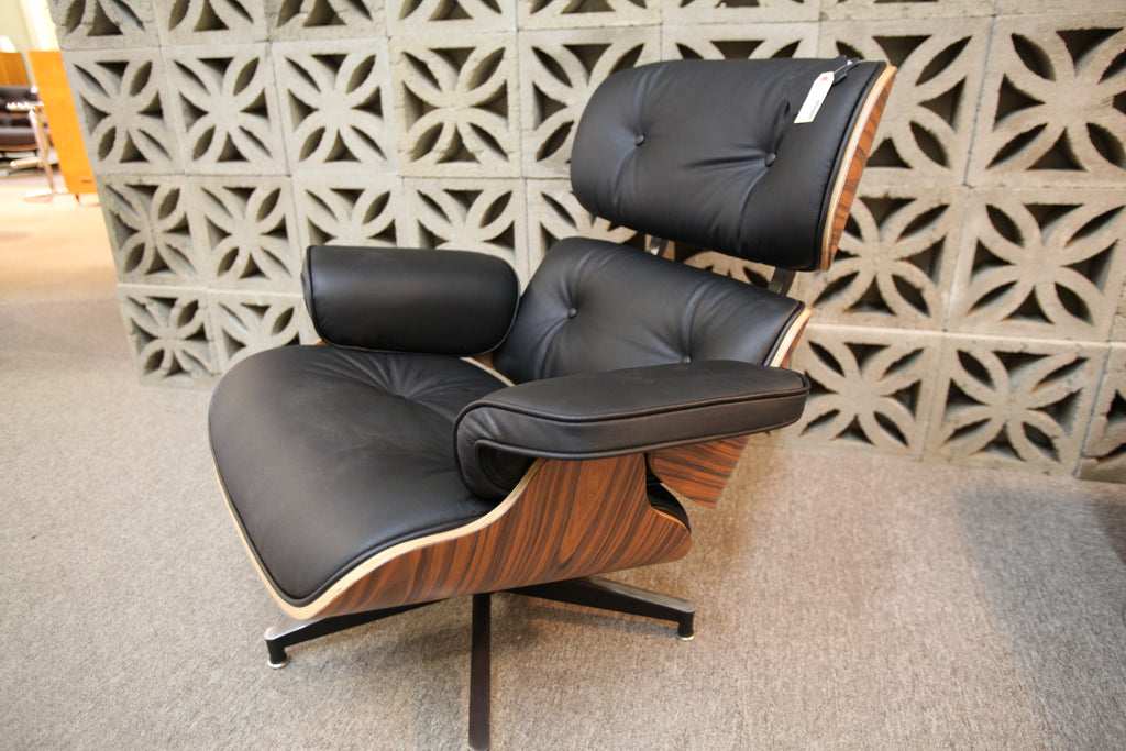 Eames Replica Leather Lounge Chair and Ottoman (Black Leather / Palisander Wood