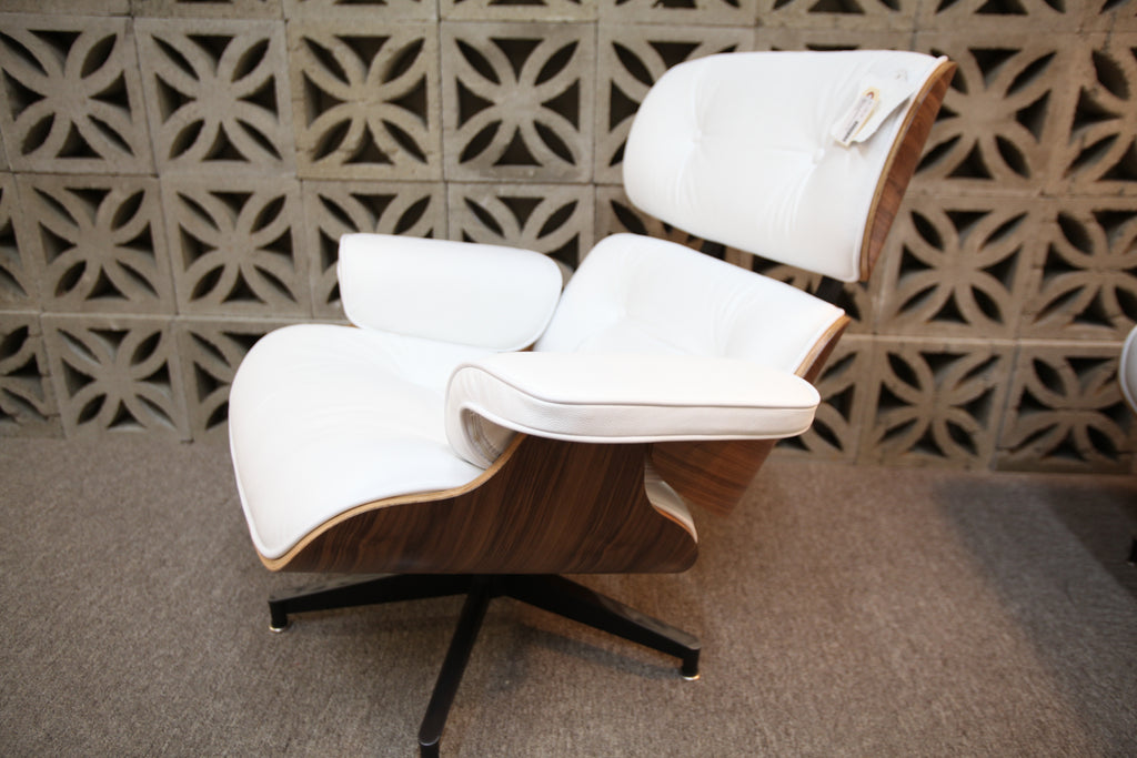 Eames Replica Leather Lounge Chair and Ottoman (Wht Leather / Walnut Wood)