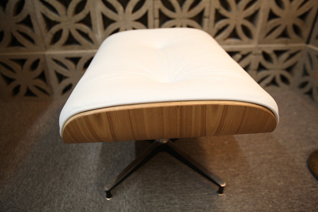 Eames Replica Leather Lounge Chair and Ottoman (Wht Leather / Ash Wood)
