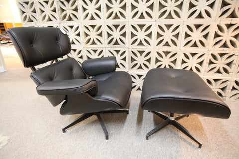 Eames Replica Leather Lounge Chair and Ottoman (Blk Leather / Blk Wood)