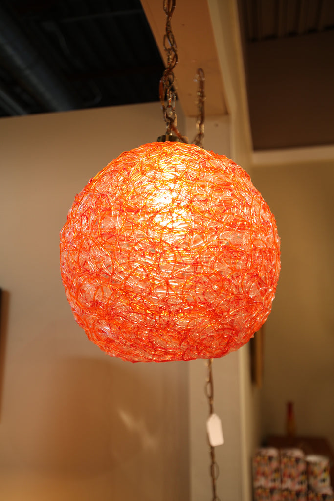 "Vintage Glass Spaghetti Hanging Lamp (14"" dia)"
