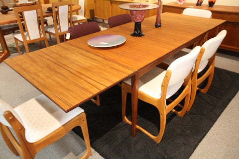 "Mid Century Danish Teak Extension Dining Table (94.5""L x 35.5""W) (51""L x 35.5""W)"