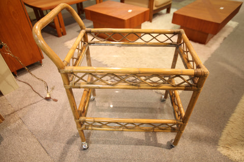"Vintage Bamboo Bar Cart (26.5"" x 18.5"" x 34.25""H)"