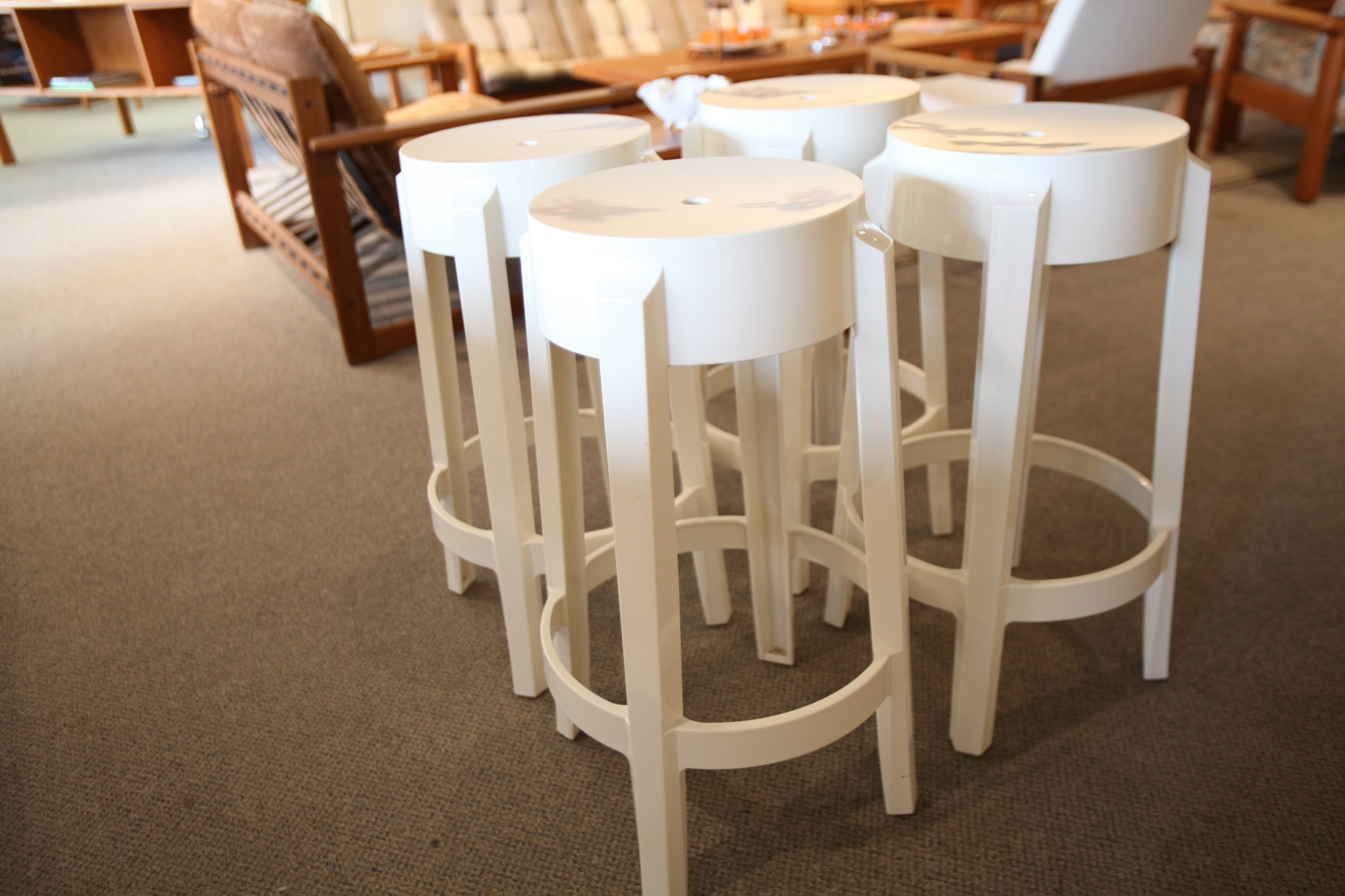 "Set of 4 Kartell Ghost Stools (26""H)"