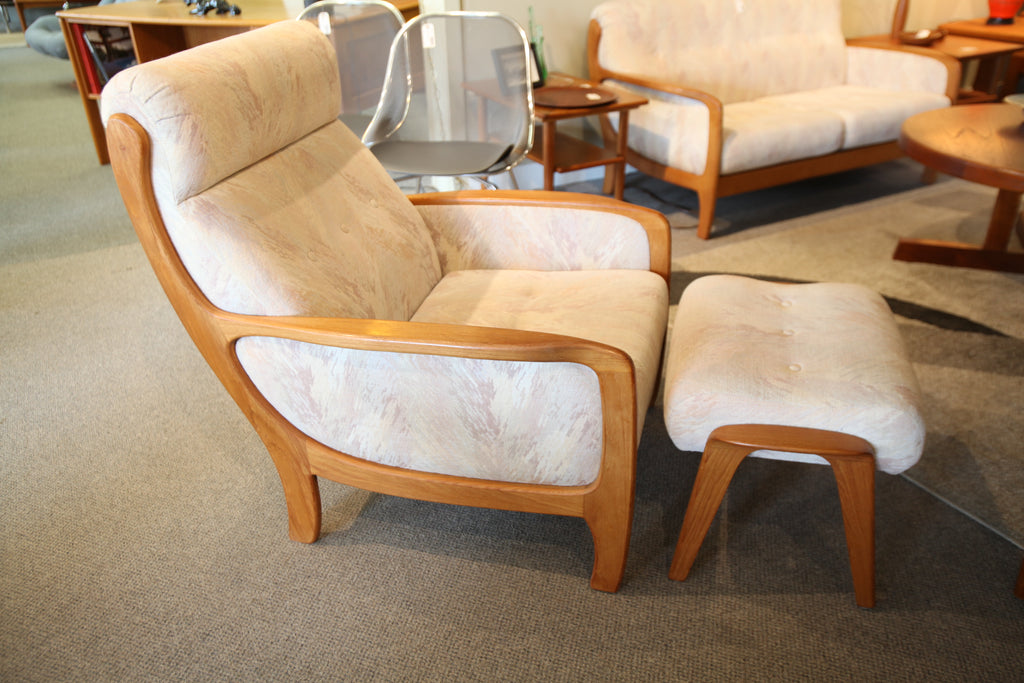 Vintage Teak Lounge Chair and Ottoman