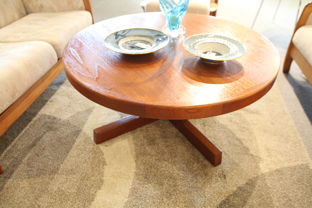 "Vintage Round Teak Coffee Table (38""W x 18""H)"