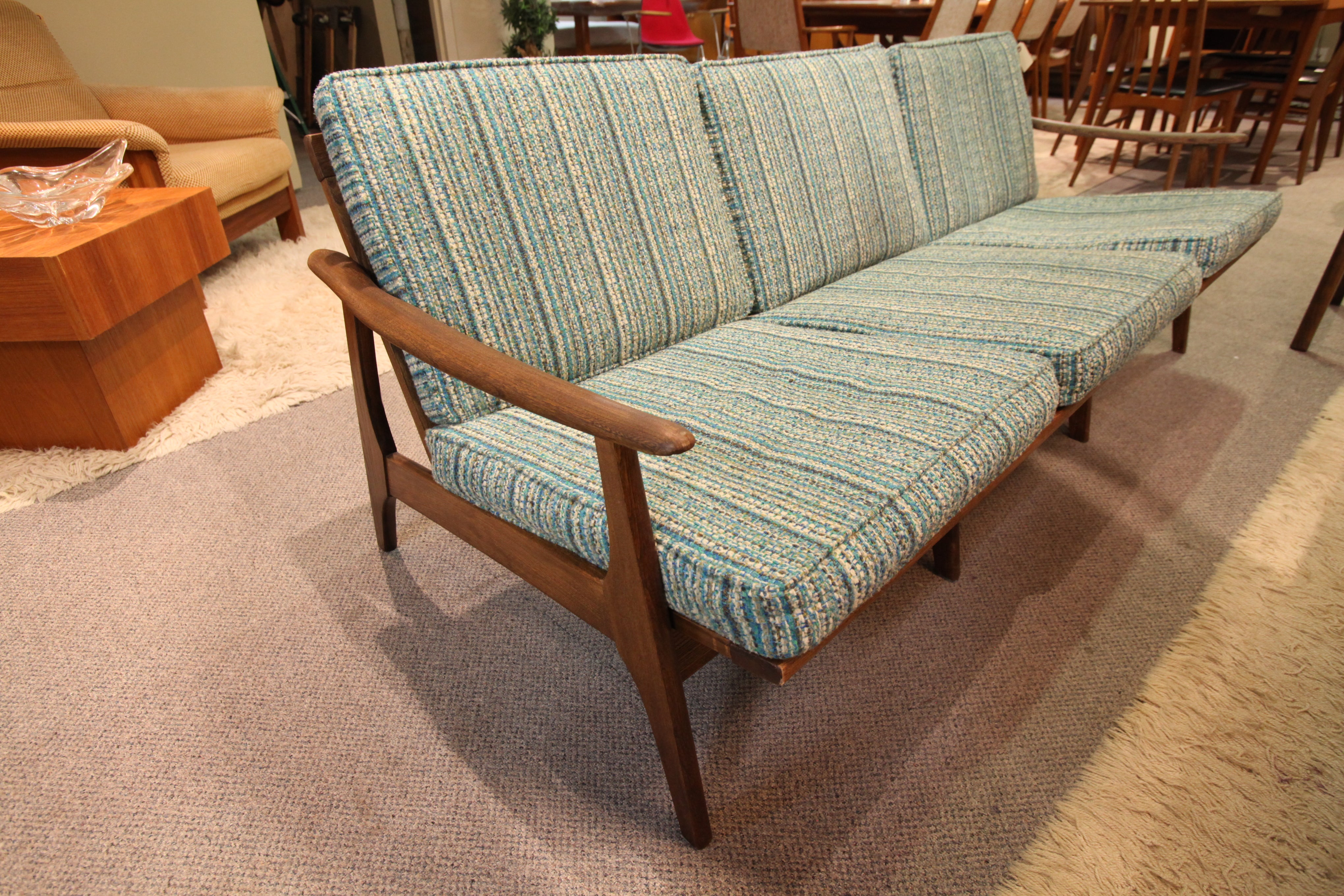 "Vintage Wood Framed 3 Seater Sofa (73""W x 35""D x 28""H)"