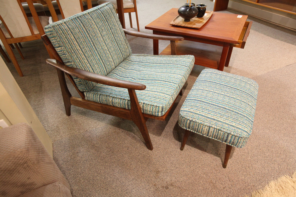 "Vintage Wood Framed Lounge Chair & Ottoman (27""W x 35""D x 28""H)"