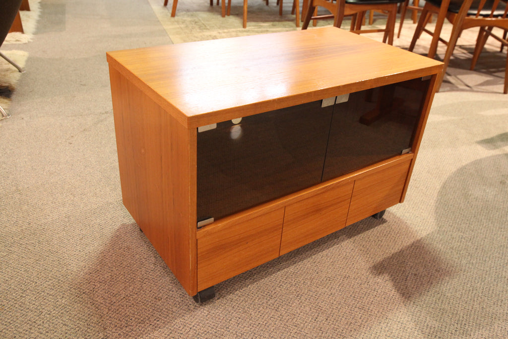 "Vintage Teak TV Stand w / Drawers on Castors (30.5""W x 17""D x 20.25""H)"