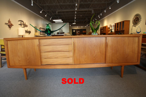 "Beautiful Gunni Omann 95"" Danish Teak Credenza for ACO Mobler (95""L x 18.5""D x 31.5""H)"