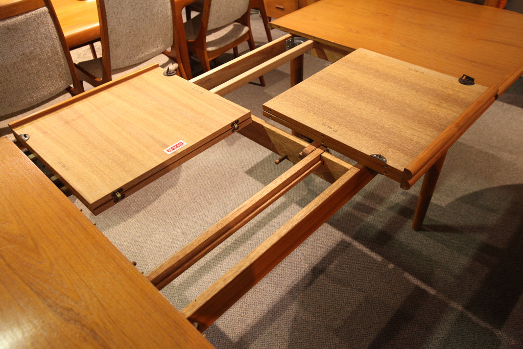 "Vintage D-Scan Teak Dining Table w/ Double Butterfly Leafs (97.5""x38"") (57""x38"")"