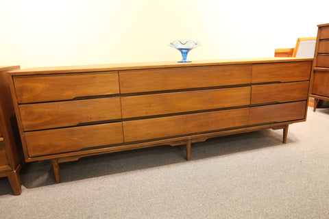 "Long Vintage Walnut 9 Drawer Dresser (84""L x 18""D x 29.25""H)"