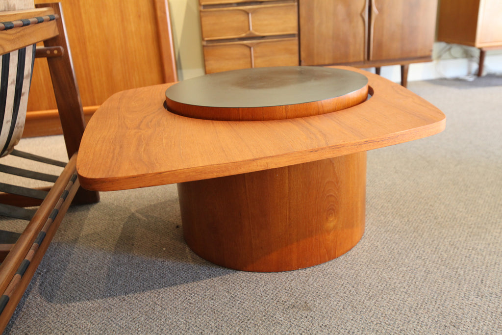 "Larger Floating Teak Side Table by RS Associates (31"" x 32"" x 16""H)"