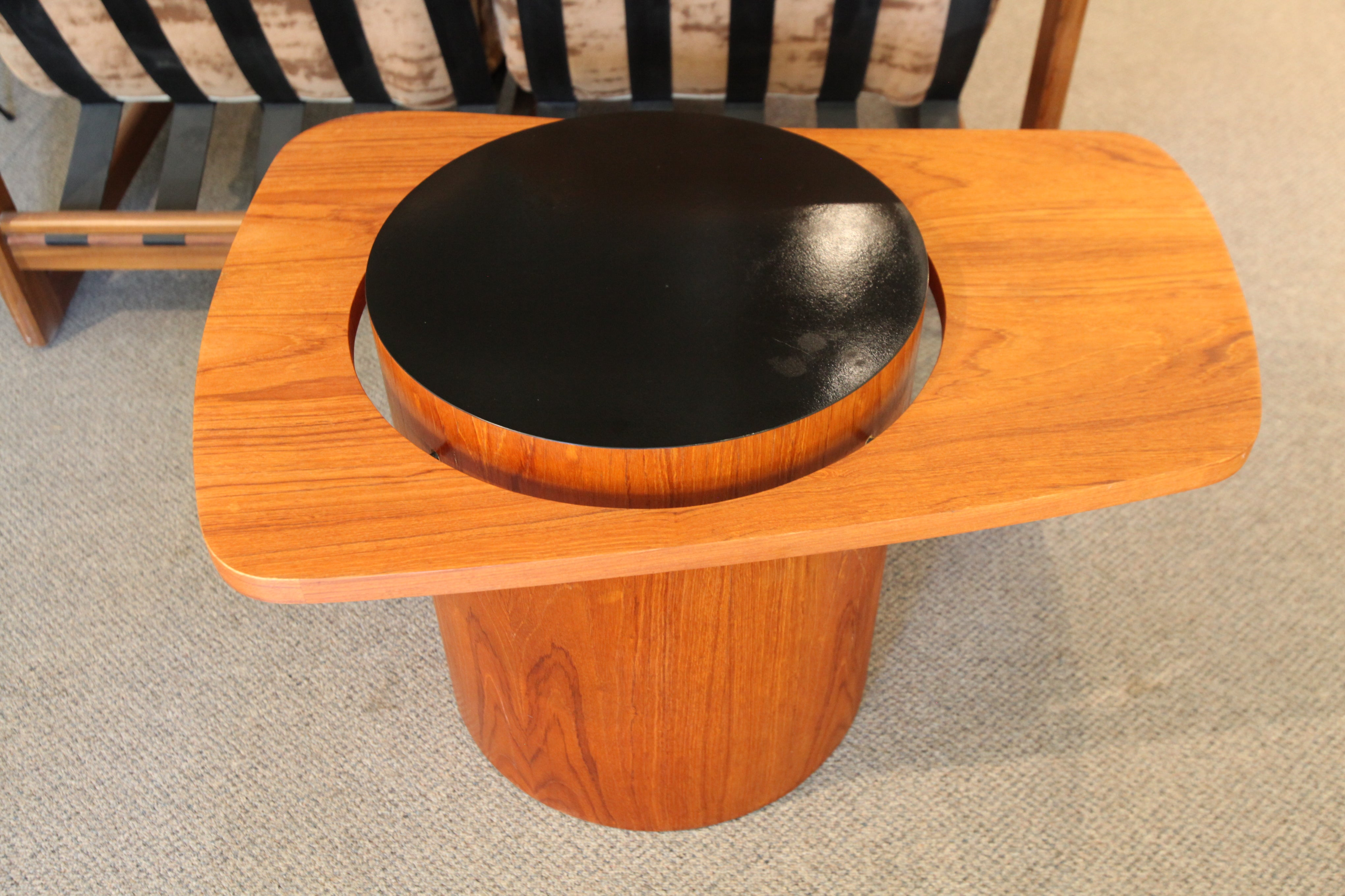 "Smaller Floating Teak Side Table by RS Associates Montreal (32"" x 22"" x 19"")"