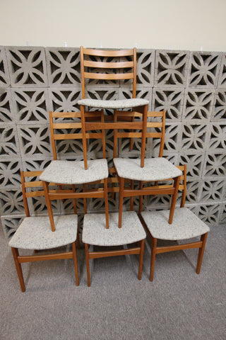 Nice Set of 6 Vintage Teak Dining Chairs
