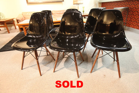 "Replica Black Eames Shell Chair / Walnut Eiffel Base (18.75""W x 32.25""H)"