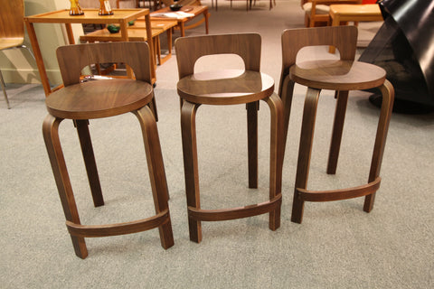 "MCM Style Walnut Stool (Seat Height 23.5""H)"