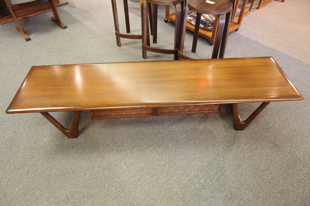 "Beautiful Vintage Lane Walnut Coffee Table w/ Drawer (70""L x 18""W x 13.5""H)"
