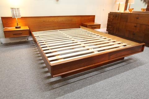 Vintage Teak Floating Queen Size Bed w/ Night Stands