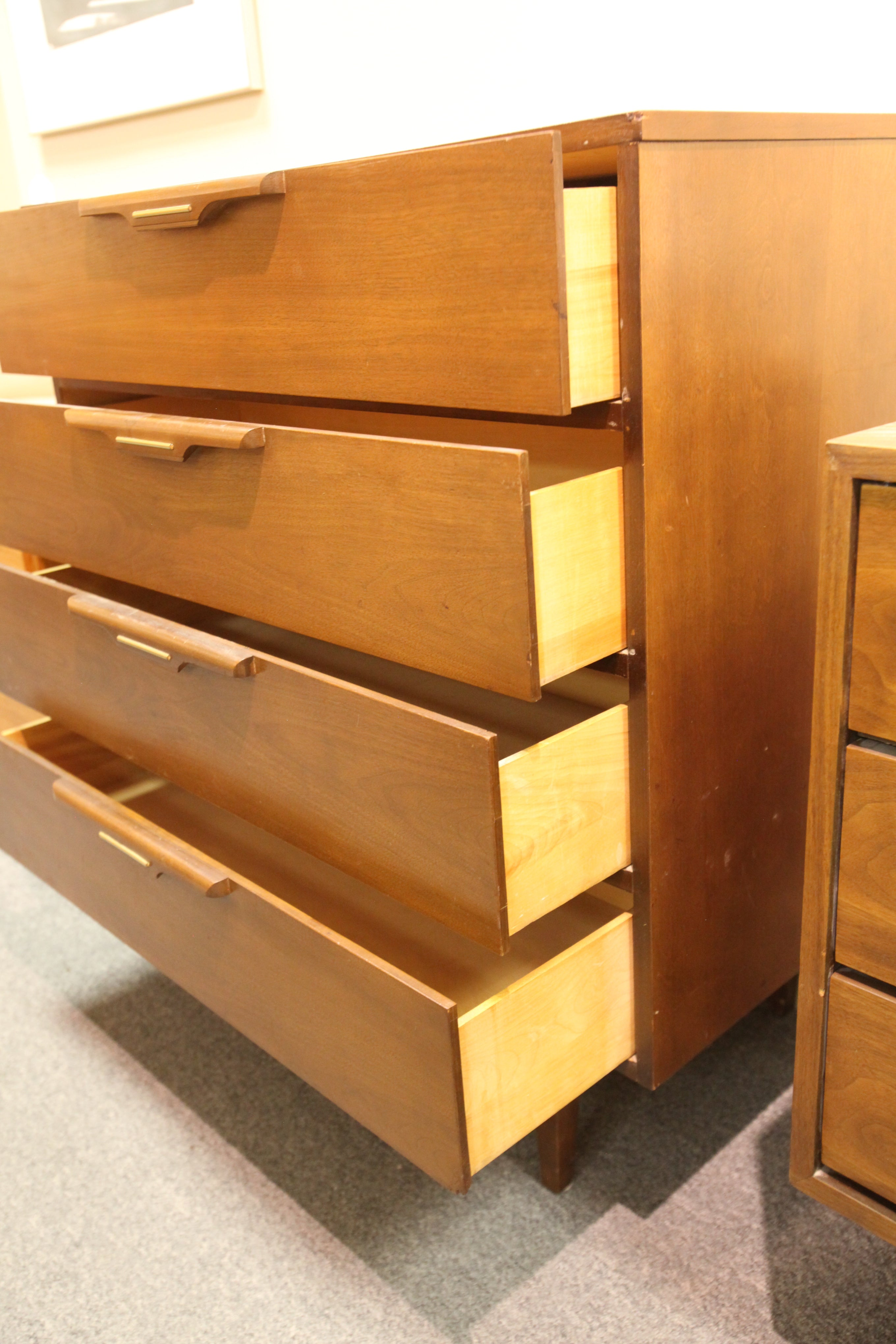 "Vintage Vic-Art 4 Drawer Walnut Tallboy Dresser (34""W x 17.75""D x 36.5""H)"