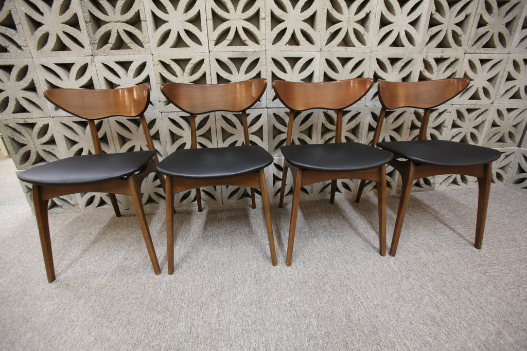 Set of 4 Vintage Floating Style Walnut Dining Chairs