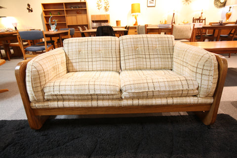 "Hello 1975!  Vintage Wood Framed Love Seat (57.5""W x 33.5""D x 28""H)"