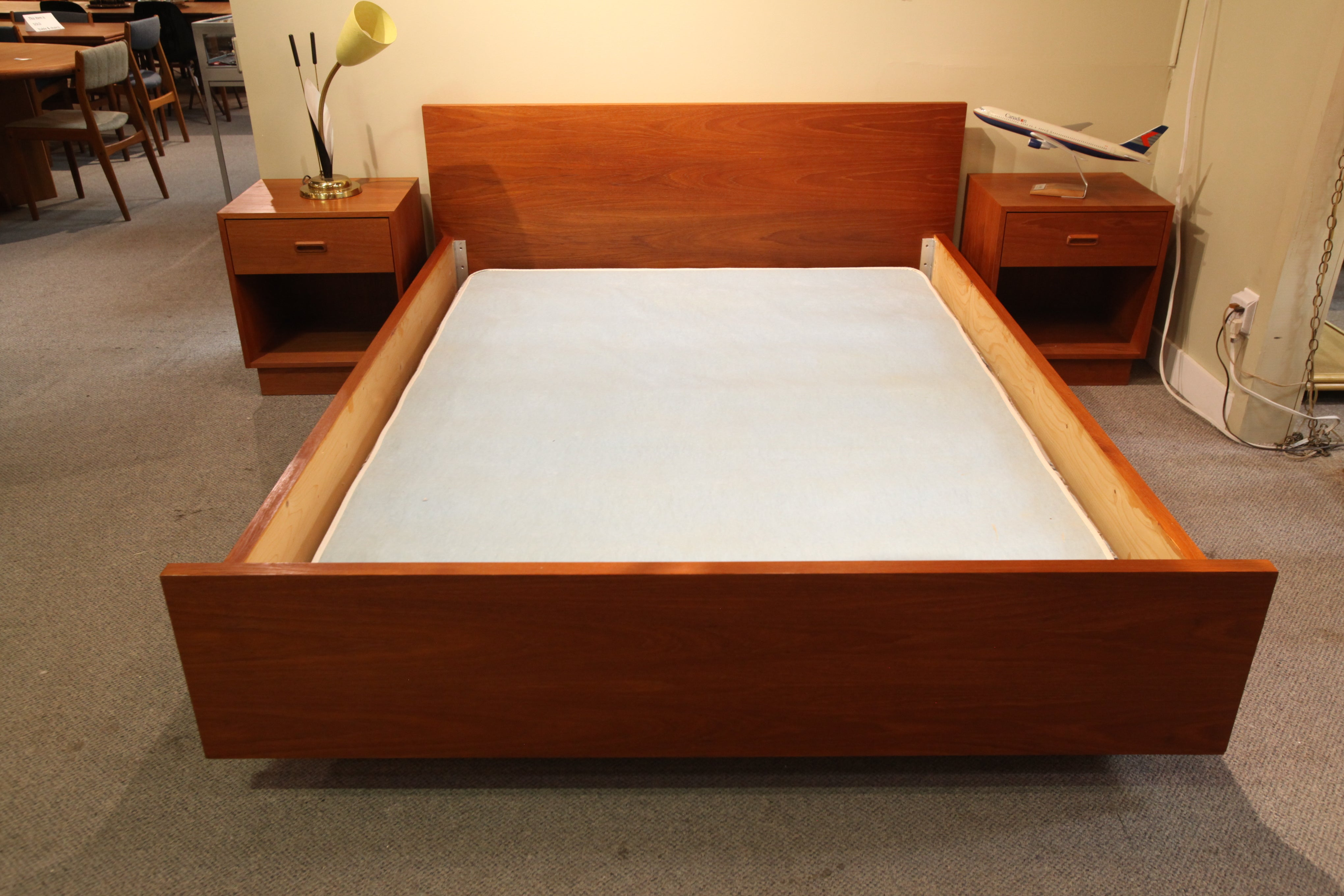 "Vintage Teak Queen Bed w/ 2 Night Stands (H/B 67.5""W) (bed 85""L)(Night Stands 20x17x23""H)"