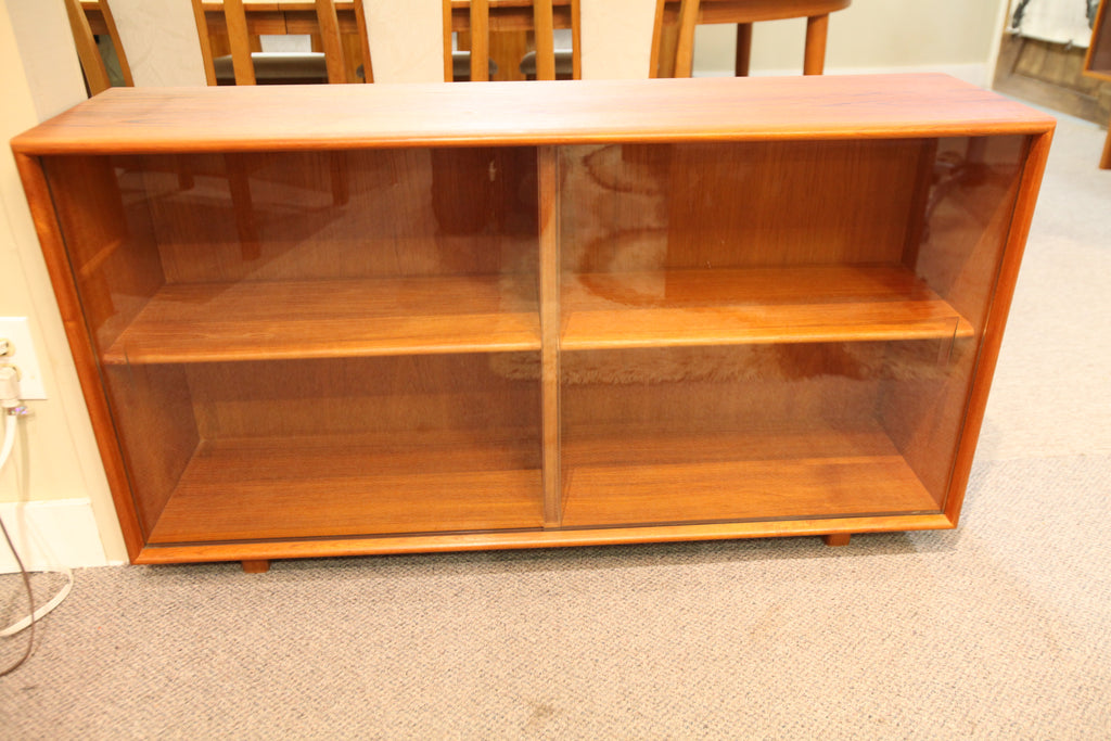 "Small Vintage Teak Hutch W / Glass Doors (47.5""W x 12.5""D x 26.25""H)"