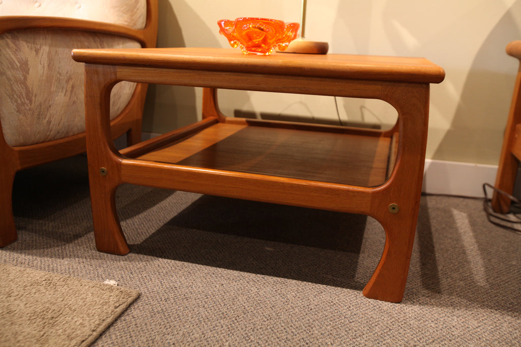 "Vintage Square Teak Side Table (28.75"" x 28.75"" x 18.25""H)"
