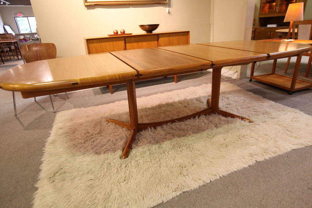 "Vintage Teak Dining Table W/ 2 Leafs (102"" x 41"") or (62.5"" x 41"")"