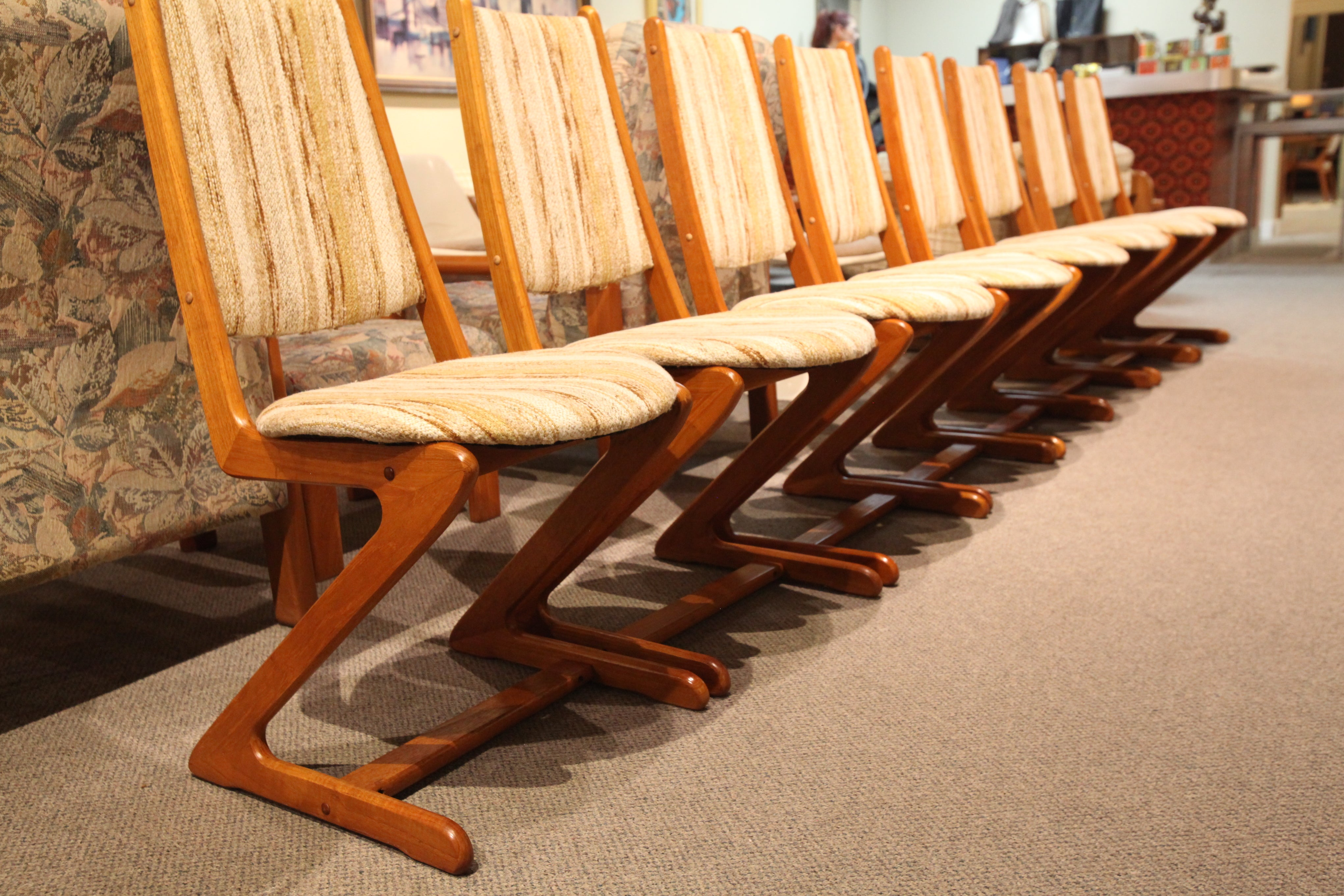 Set of 8 Very Unique Teak Dining Chairs (Perfect original upholstery)
