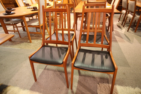 Set of 4 Teak High Back Teak Dining Chairs