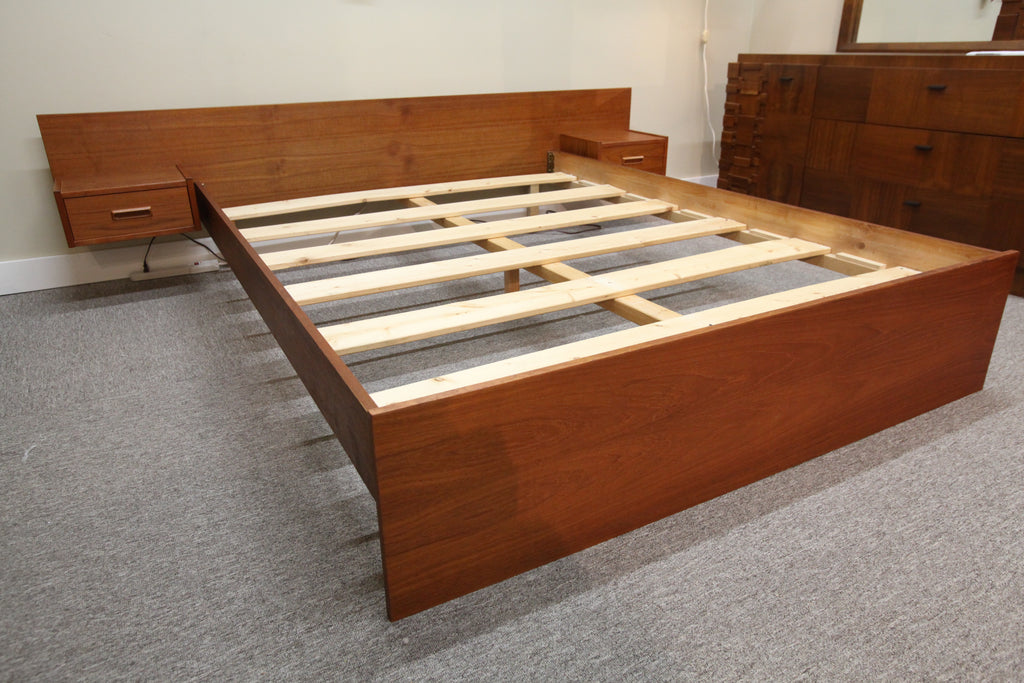 "Vintage Teak Queen Bed w / Floating Night Stands (Headboard 96""W- Bed 82""L)"