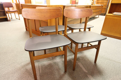 Set of 4 Vintage Teak Chairs W/ New Upholstery