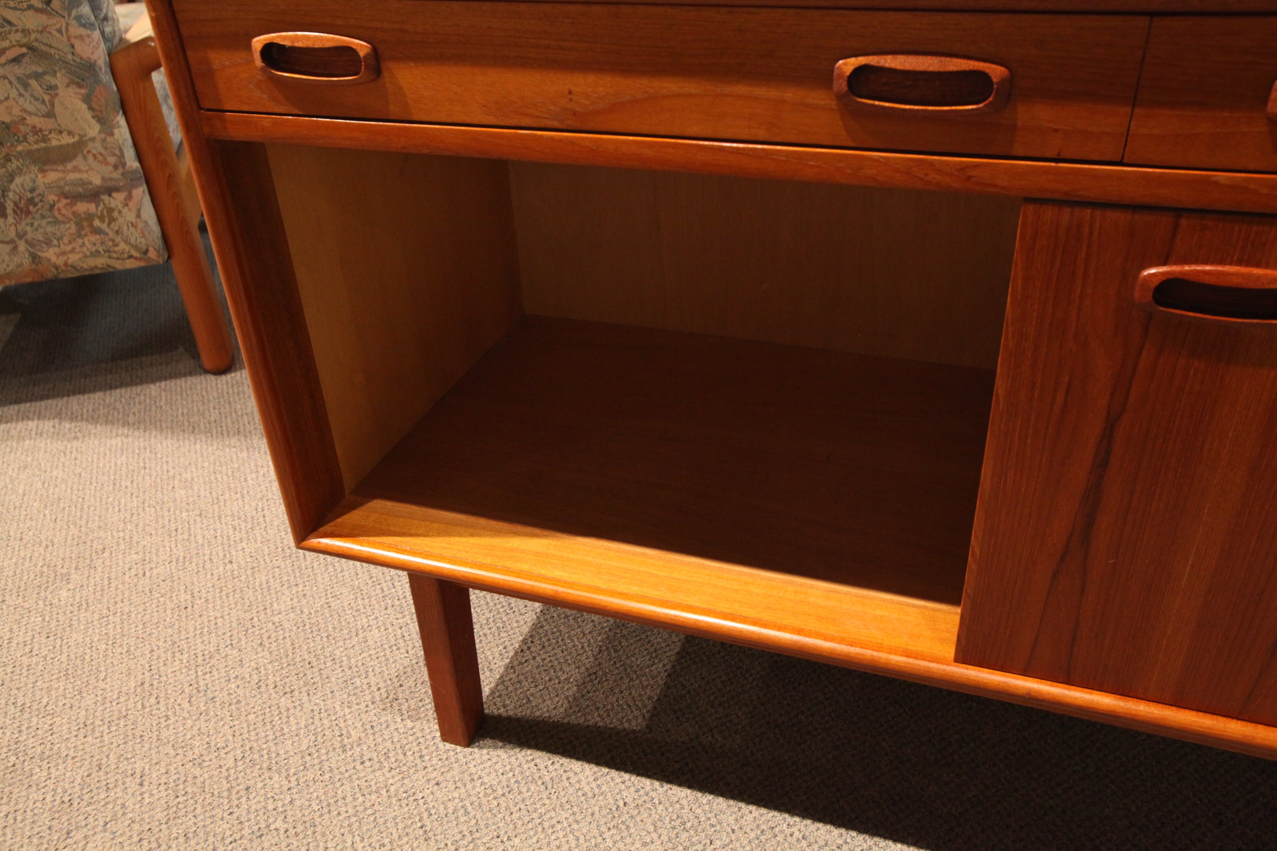 "Small Vintge Teak Credenza / Sideboard (47.75""W x 18""D x 28""H)"