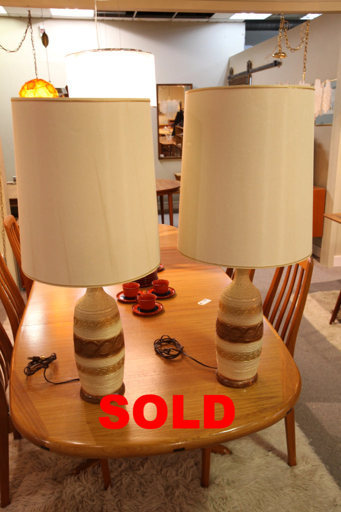 "Set of 2 Vintage Lamps with Shades (34.5""H)"