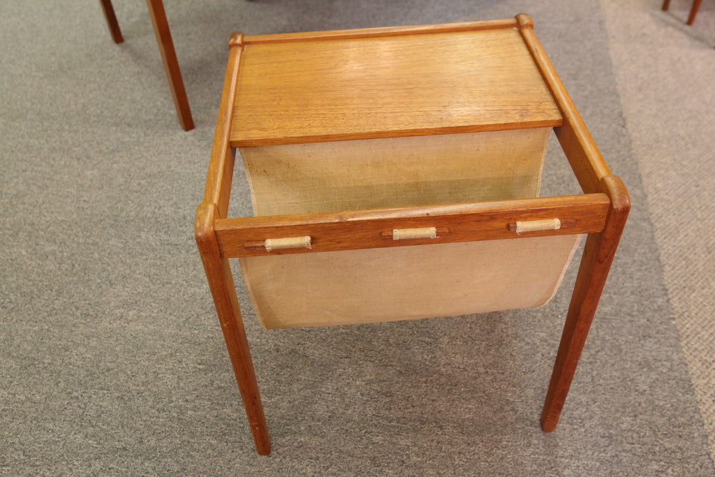 "Vintage Teak Magazine Holder / Side Table (17.5"" x 17"" x 18""H)"