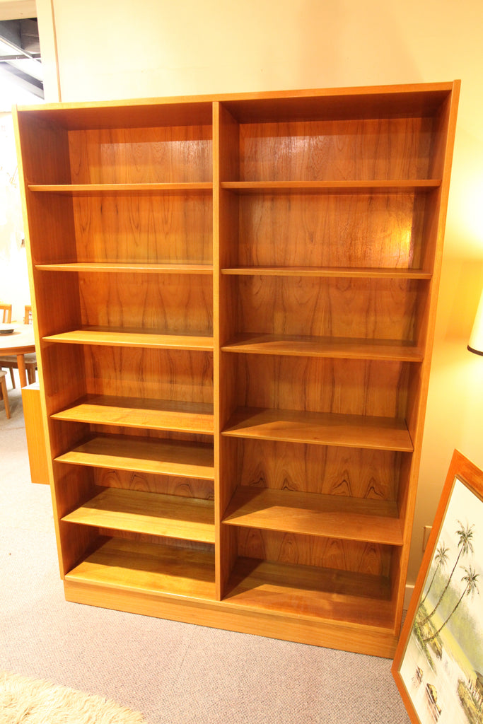 "Vintage Danish Teak Double Book Shelf by Poul Hundevad (54.5""W x 77""H x 12""d)"