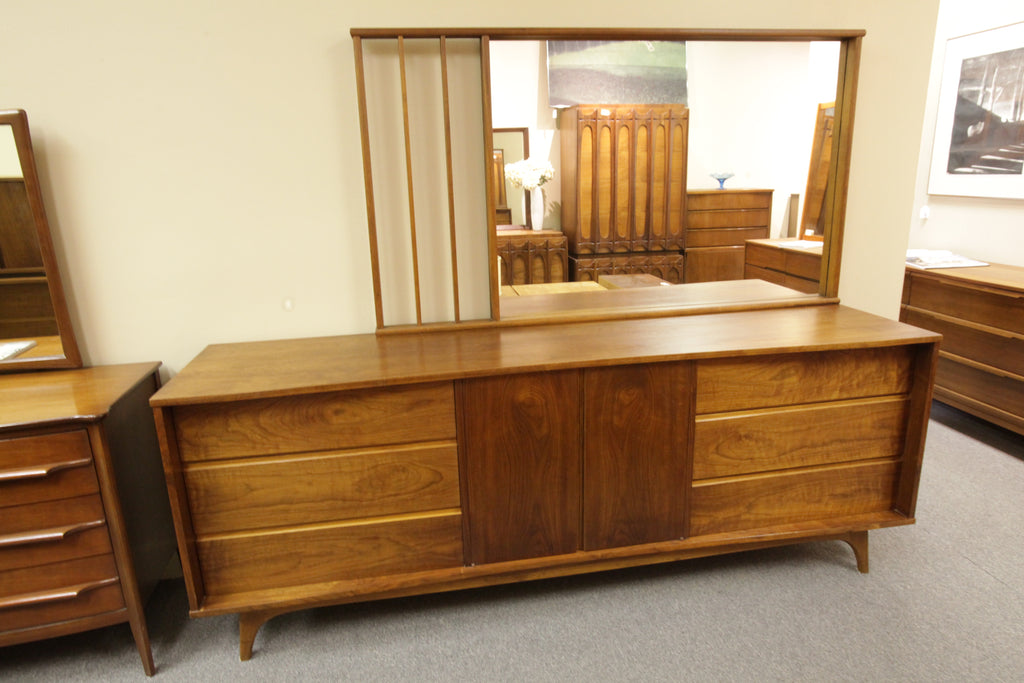 "Large Vintage 6 Drawer Walnut Dresser w/ Mirror (83""L x 20""D x 32""H)"