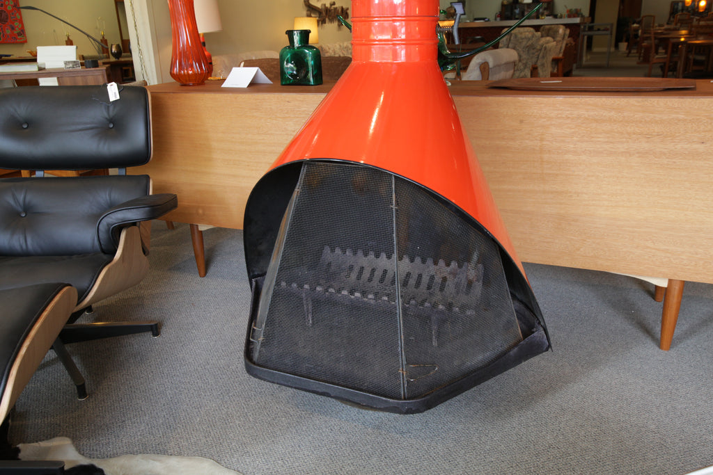 "Vintage Mid Century Modern ""Firehood"" Fireplace (Approx 37"" Wide)"