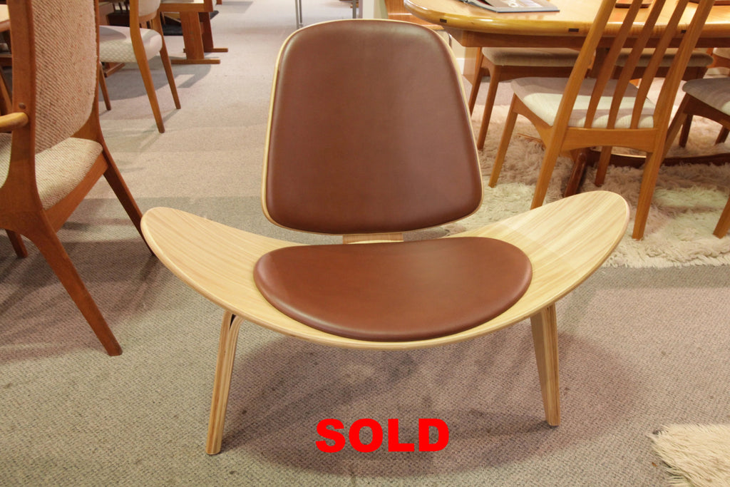 """High Quality"" Replica Shell Chair / BROWN LEATHER (35""W x 29.5""H x 29""D)"