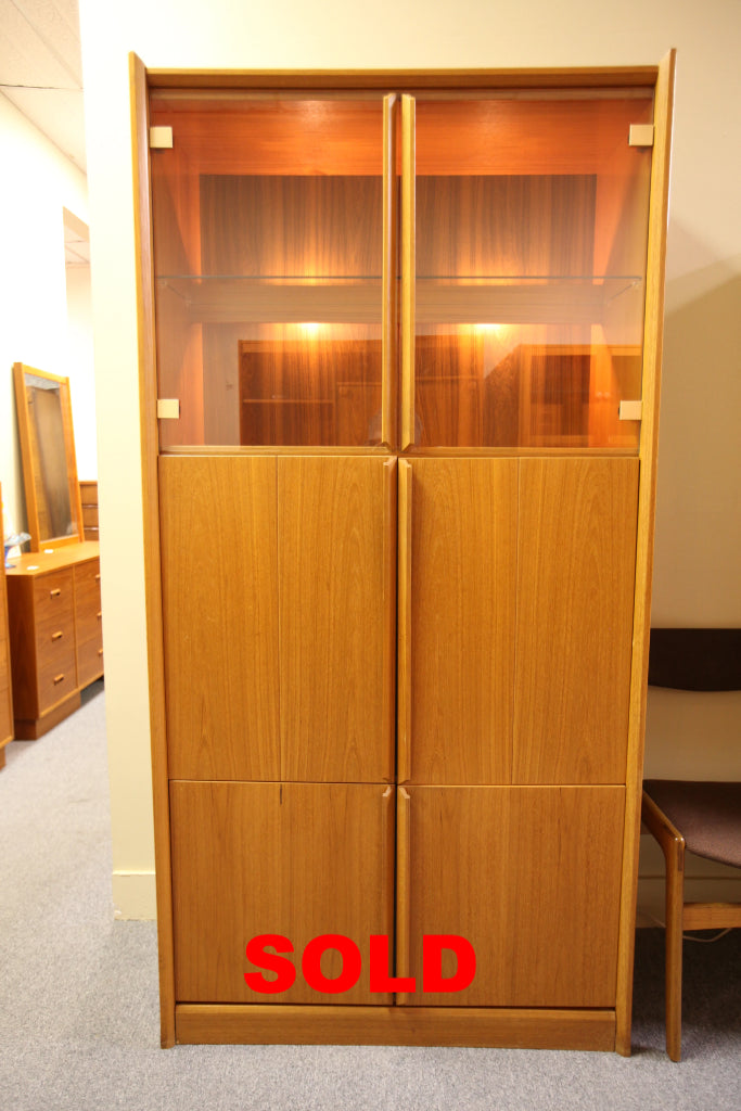 "Vintage Tall Teak Cabinet w/ Interior Lights (37.5""W x 16.5""D x 74.75""H)"
