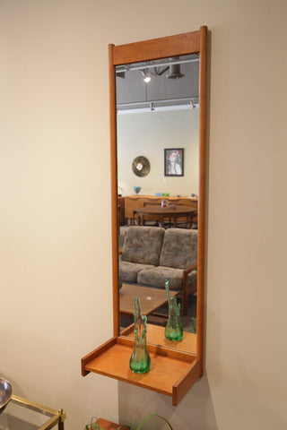 "Vintage Tall Teak Mirror w/ shelf - Made in Sweden (15.5""W x 49.5""H x 9.5""D)"
