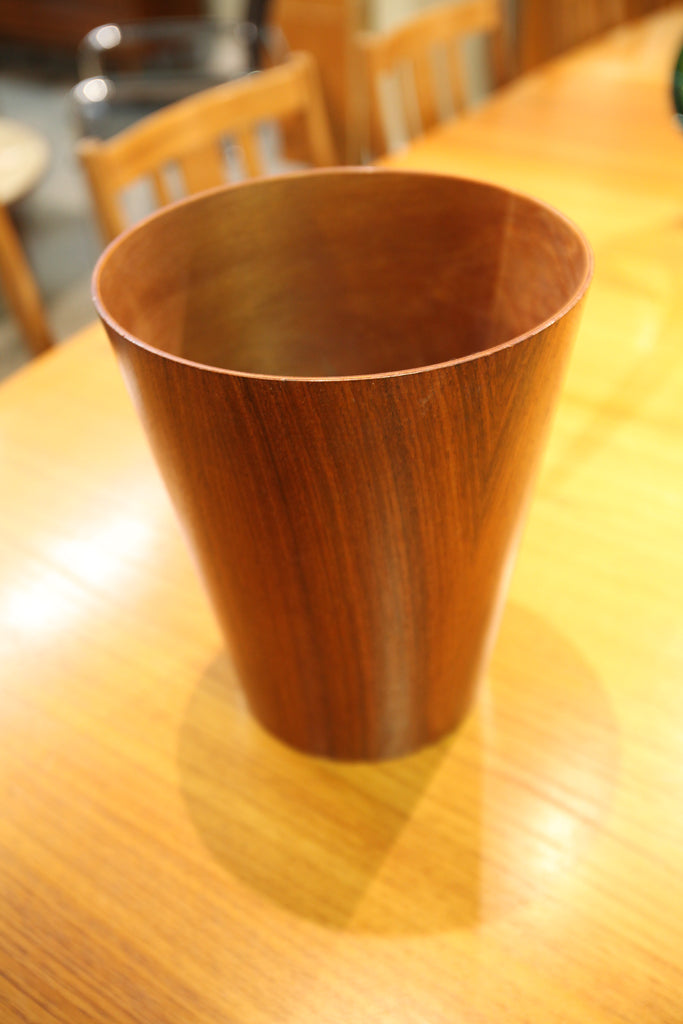 "Small Vintage Teak Trash Can (11""H x 9""W)"