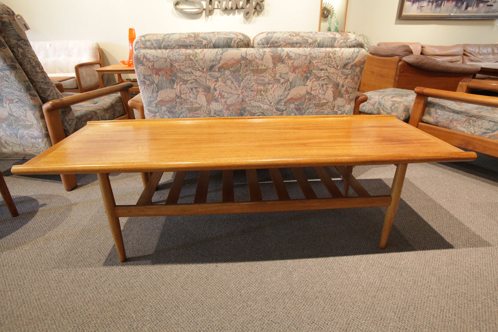 "Vintage Danish Teak Surfboard Coffee Table (59.5""L x 22""W x 17""H)"