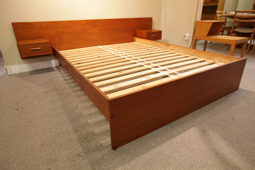 "Vintage Teak Queen Bed w/ Floating Night Stands (96.25""W x 27.5""H x 81.5""L)"