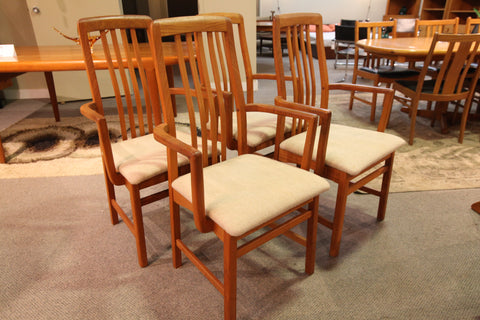 "Set of 4 Vintage Teak Benny Linden Arm Chairs (21.75""W x 18""D x 39.75""H)"