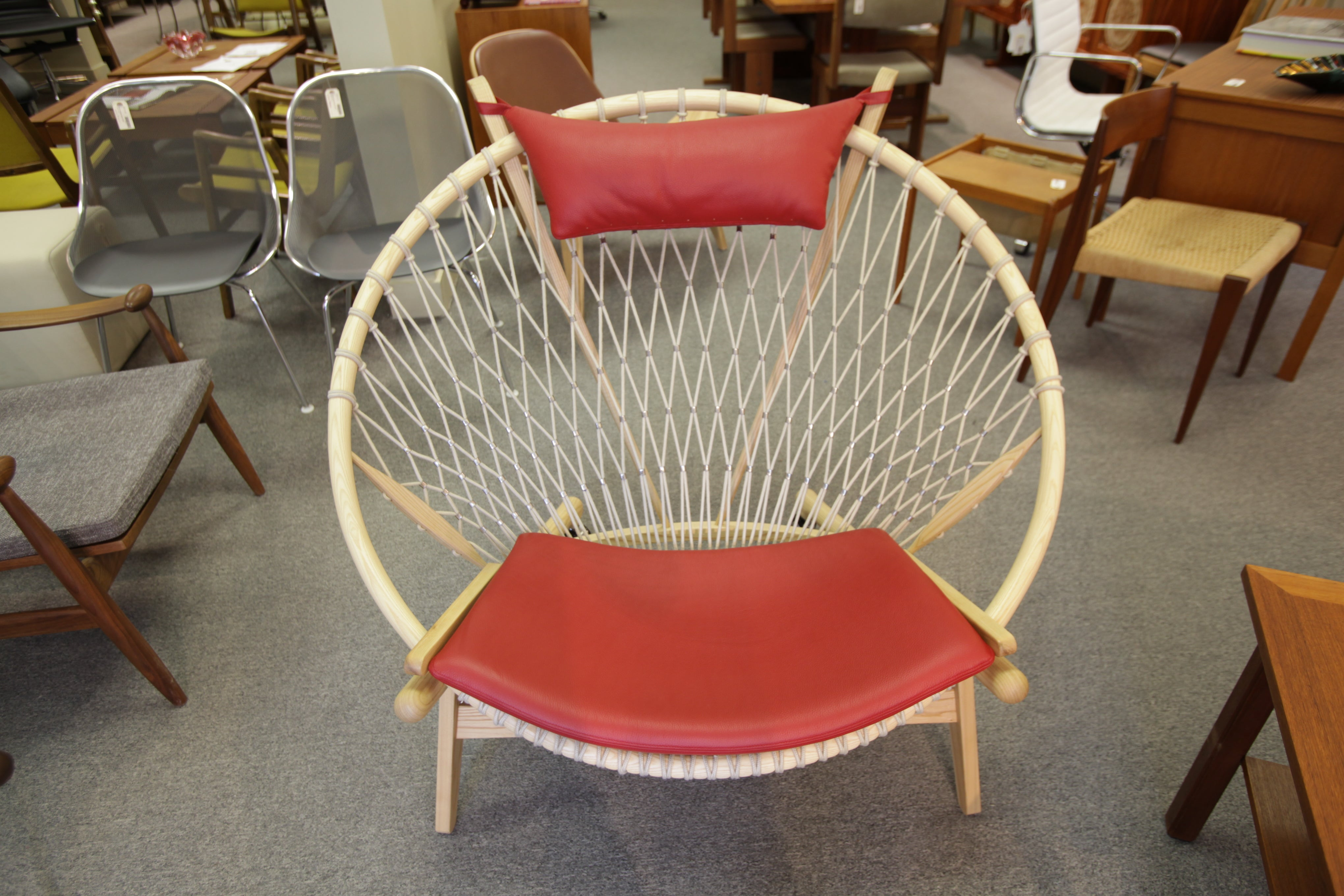 "High Quality Hans Wegner Circle Chair Replica (Red Leather) (45""W x 38""H x 36""D)"