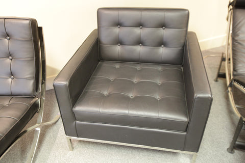 "Knoll Replica Florence Chair  ""Black Leather"" (32'W X 32'D X 29""H)"